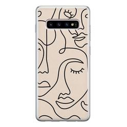 Leuke Telefoonhoesjes Samsung Galaxy S10 siliconen hoesje - Abstract gezicht lijnen