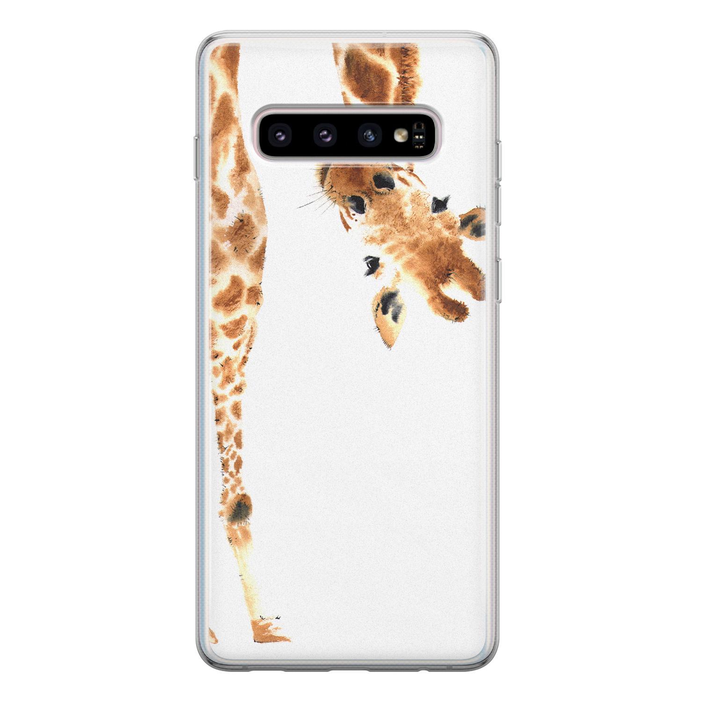 Leuke Telefoonhoesjes Samsung Galaxy S10 siliconen hoesje - Giraffe peekaboo