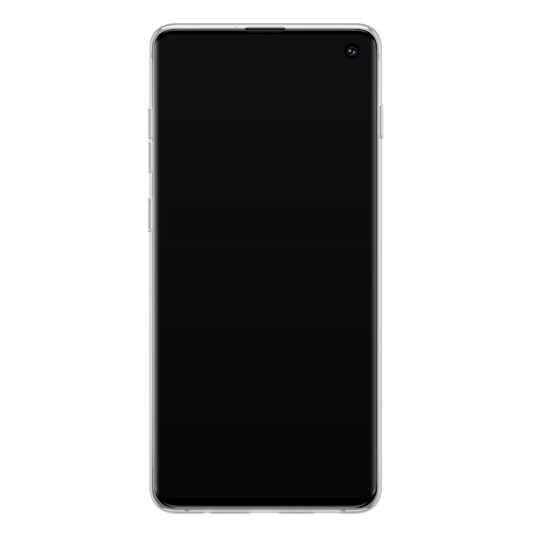 Leuke Telefoonhoesjes Samsung Galaxy S10 siliconen hoesje - Luipaard flower print