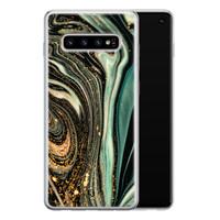 ELLECHIQ Samsung Galaxy S10 siliconen hoesje - Marble Khaki Swirl