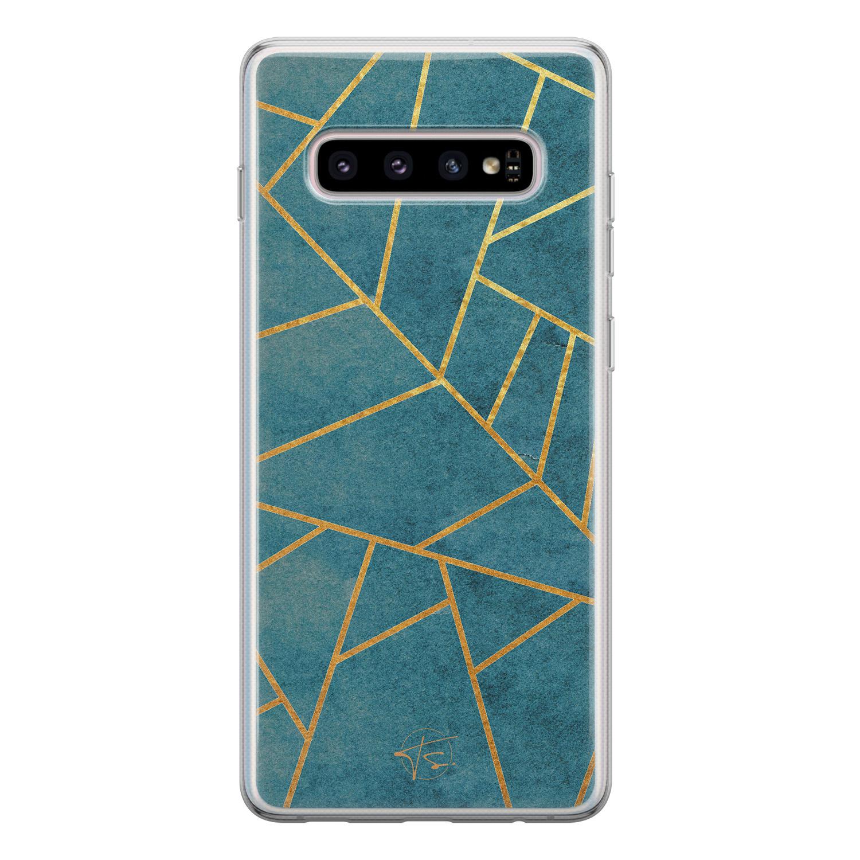 Telefoonhoesje Store Samsung Galaxy S10 siliconen hoesje - Abstract blauw
