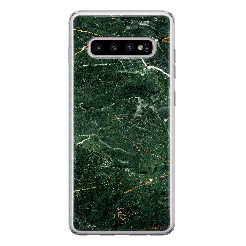 ELLECHIQ Samsung Galaxy S10 siliconen hoesje - Marble jade green