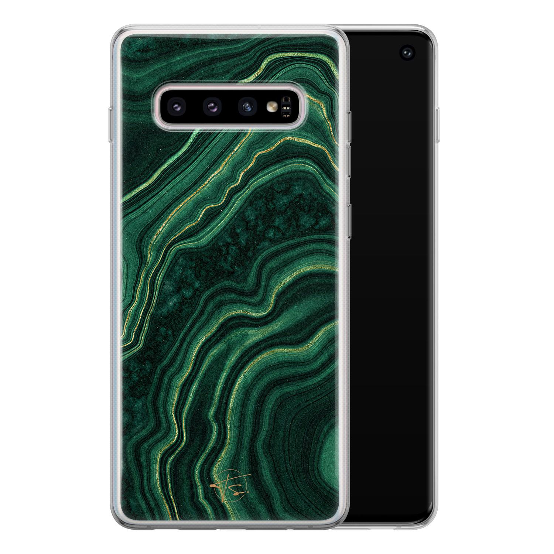 Telefoonhoesje Store Samsung Galaxy S10 siliconen hoesje - Agate groen