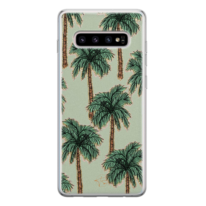 Telefoonhoesje Store Samsung Galaxy S10 siliconen hoesje - Palmbomen