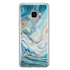 Telefoonhoesje Store Samsung Galaxy S9 siliconen hoesje - Marmer blauw goud
