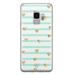 Telefoonhoesje Store Samsung Galaxy S9 siliconen hoesje - Mint hartjes