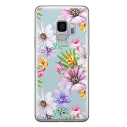Telefoonhoesje Store Samsung Galaxy S9 siliconen hoesje - Mint bloemen