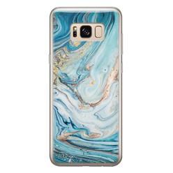 Telefoonhoesje Store Samsung Galaxy S8 siliconen hoesje - Marmer blauw goud