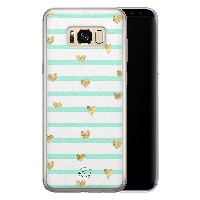 Telefoonhoesje Store Samsung Galaxy S8 siliconen hoesje - Mint hartjes