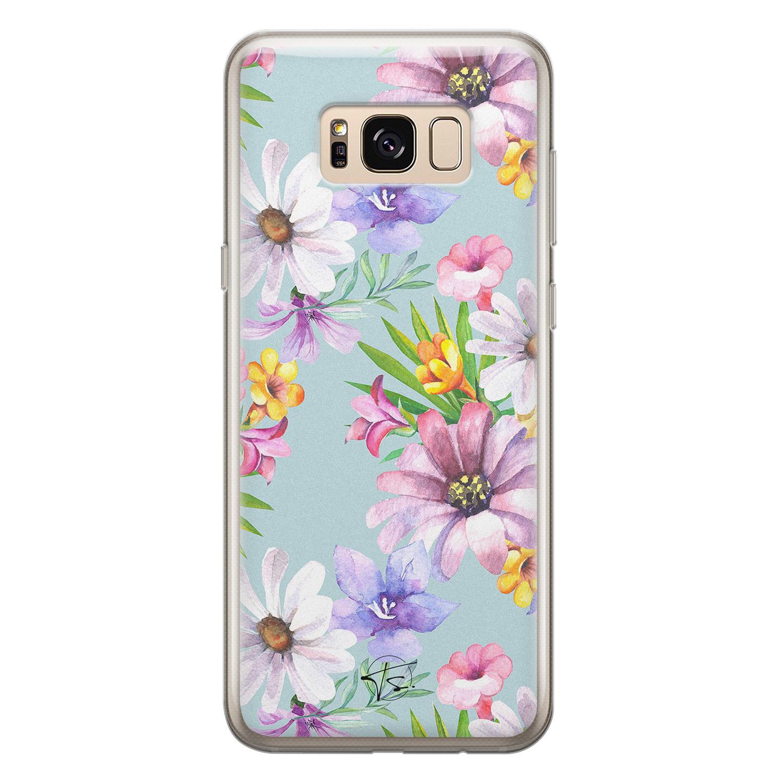 Telefoonhoesje Store Samsung Galaxy S8 siliconen hoesje - Mint bloemen