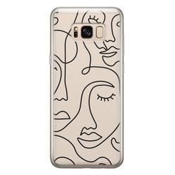 Leuke Telefoonhoesjes Samsung Galaxy S8 siliconen hoesje - Abstract gezicht lijnen