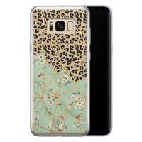 Leuke Telefoonhoesjes Samsung Galaxy S8 siliconen hoesje - Luipaard flower print
