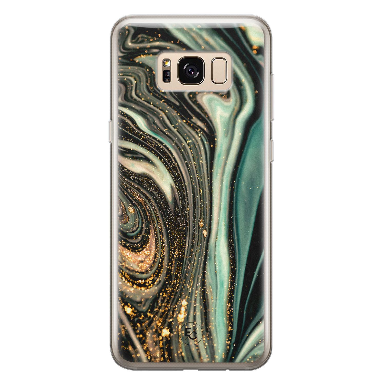 ELLECHIQ Samsung Galaxy S8 siliconen hoesje - Marble Khaki Swirl