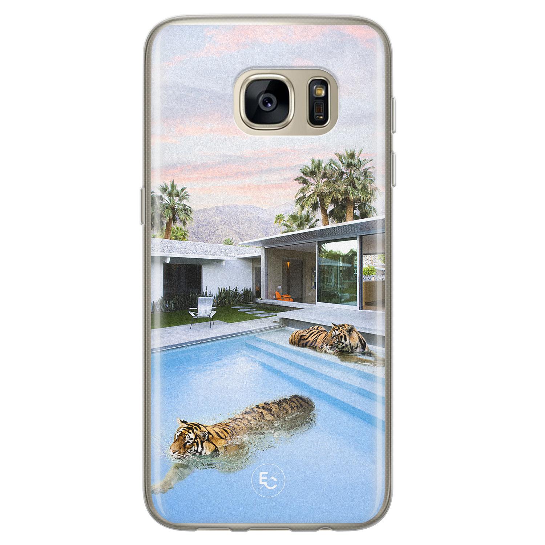 ELLECHIQ Samsung Galaxy S7 siliconen hoesje - Tiger pool