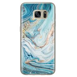 Telefoonhoesje Store Samsung Galaxy S7 siliconen hoesje - Marmer blauw goud