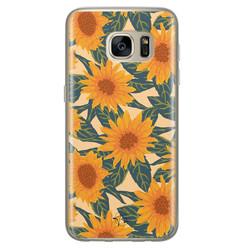 Telefoonhoesje Store Samsung Galaxy S7 siliconen hoesje - Zonnebloemen