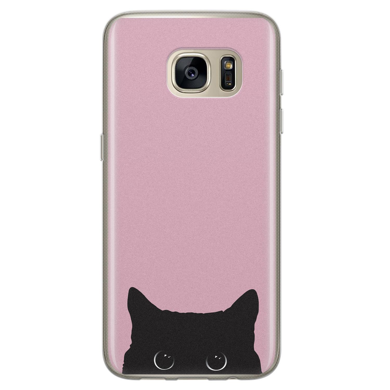 Telefoonhoesje Store Samsung Galaxy S7 siliconen hoesje - Zwarte kat