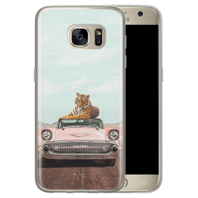 ELLECHIQ Samsung Galaxy S7 siliconen hoesje - Chill tijger