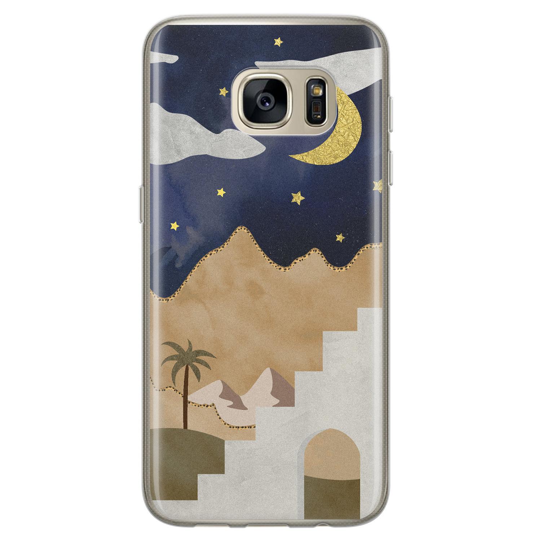 Leuke Telefoonhoesjes Samsung Galaxy S7 siliconen hoesje - Desert night
