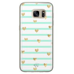 Telefoonhoesje Store Samsung Galaxy S7 siliconen hoesje - Mint hartjes