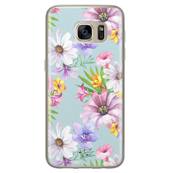 Telefoonhoesje Store Samsung Galaxy S7 siliconen hoesje - Mint bloemen