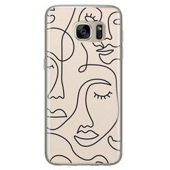 Leuke Telefoonhoesjes Samsung Galaxy S7 siliconen hoesje - Abstract gezicht lijnen