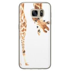 Leuke Telefoonhoesjes Samsung Galaxy S7 siliconen hoesje - Giraffe peekaboo