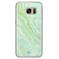 Telefoonhoesje Store Samsung Galaxy S7 siliconen hoesje - Marmer Limegroen