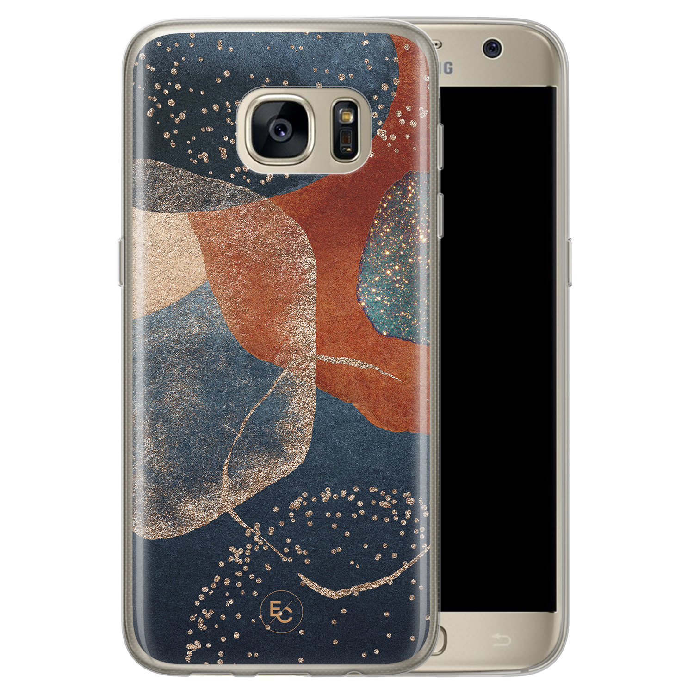 ELLECHIQ Samsung Galaxy S7 siliconen hoesje - Abstract Terracotta