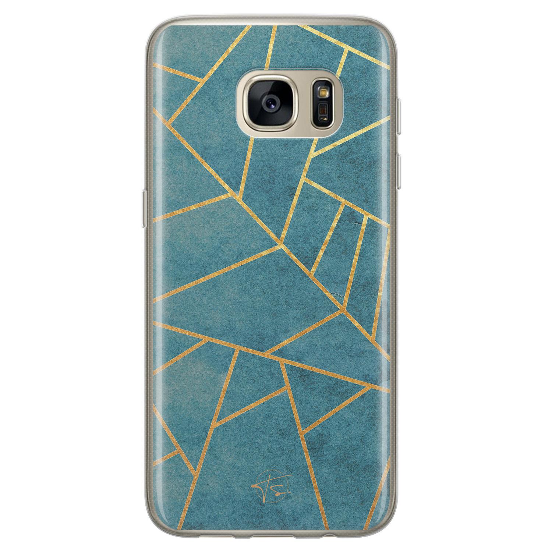 Telefoonhoesje Store Samsung Galaxy S7 siliconen hoesje - Abstract blauw
