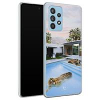 ELLECHIQ Samsung Galaxy A52 siliconen hoesje - Tiger pool