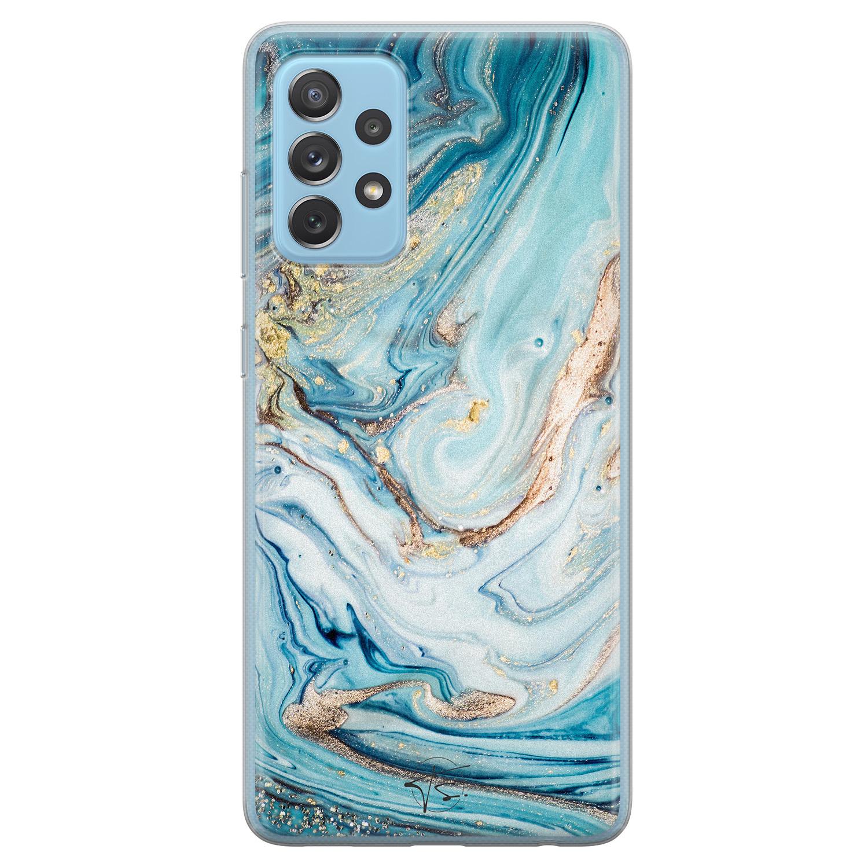 Telefoonhoesje Store Samsung Galaxy A52 siliconen hoesje - Marmer blauw goud
