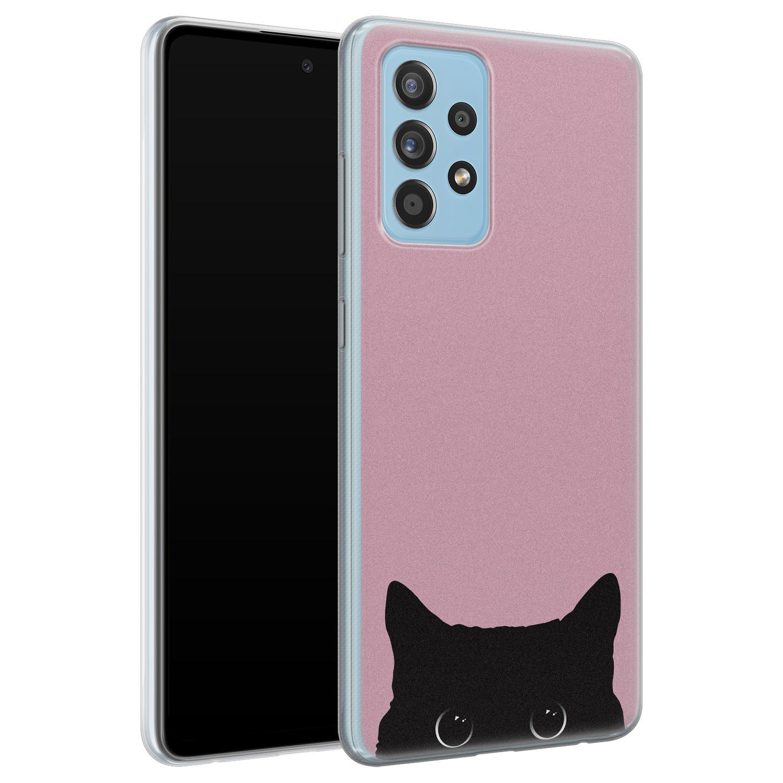 Telefoonhoesje Store Samsung Galaxy A52 siliconen hoesje - Zwarte kat
