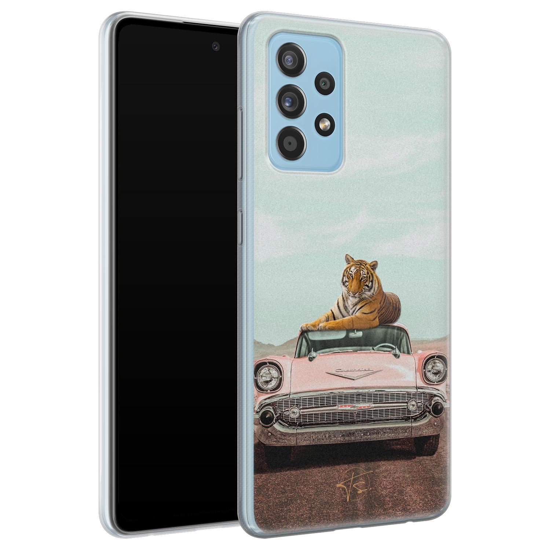 ELLECHIQ Samsung Galaxy A52 siliconen hoesje - Chill tijger