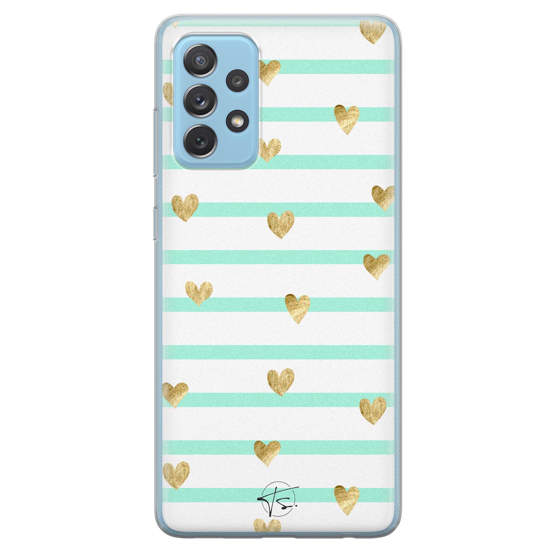 Telefoonhoesje Store Samsung Galaxy A52 siliconen hoesje - Mint hartjes