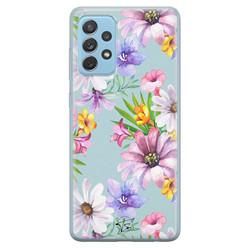 Telefoonhoesje Store Samsung Galaxy A52 siliconen hoesje - Mint bloemen