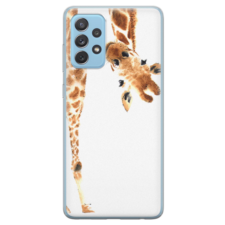 Leuke Telefoonhoesjes Samsung Galaxy A52 siliconen hoesje - Giraffe peekaboo