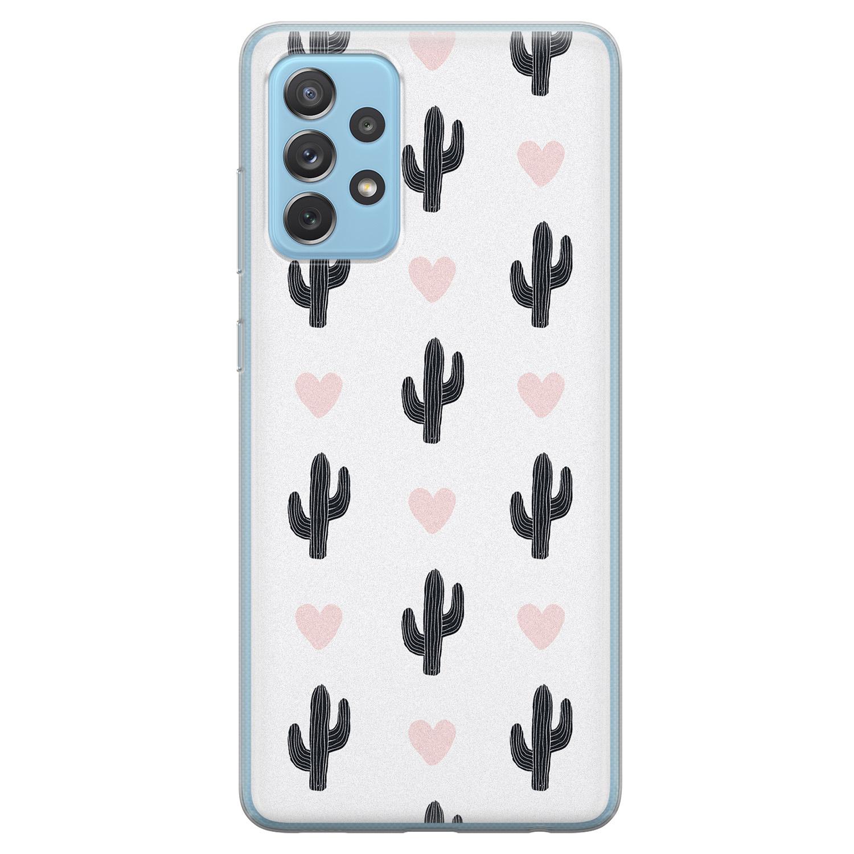 Leuke Telefoonhoesjes Samsung Galaxy A52 siliconen hoesje - Cactus love