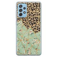 Leuke Telefoonhoesjes Samsung Galaxy A52 siliconen hoesje - Luipaard flower print