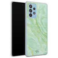 Telefoonhoesje Store Samsung Galaxy A52 siliconen hoesje - Marmer Limegroen