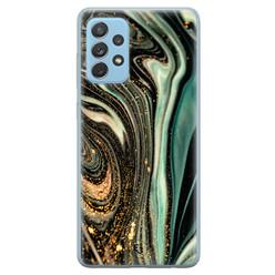 ELLECHIQ Samsung Galaxy A52 siliconen hoesje - Marble Khaki Swirl