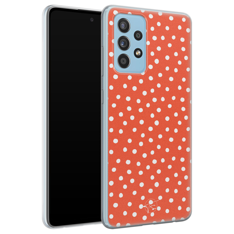 Telefoonhoesje Store Samsung Galaxy A52 siliconen hoesje - Orange dots