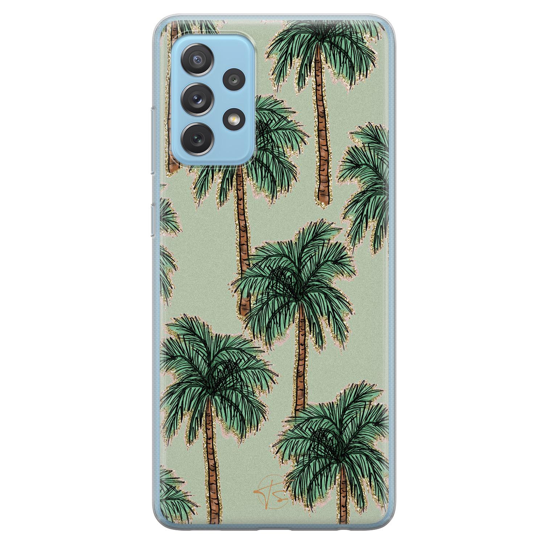 Telefoonhoesje Store Samsung Galaxy A52 siliconen hoesje - Palmbomen