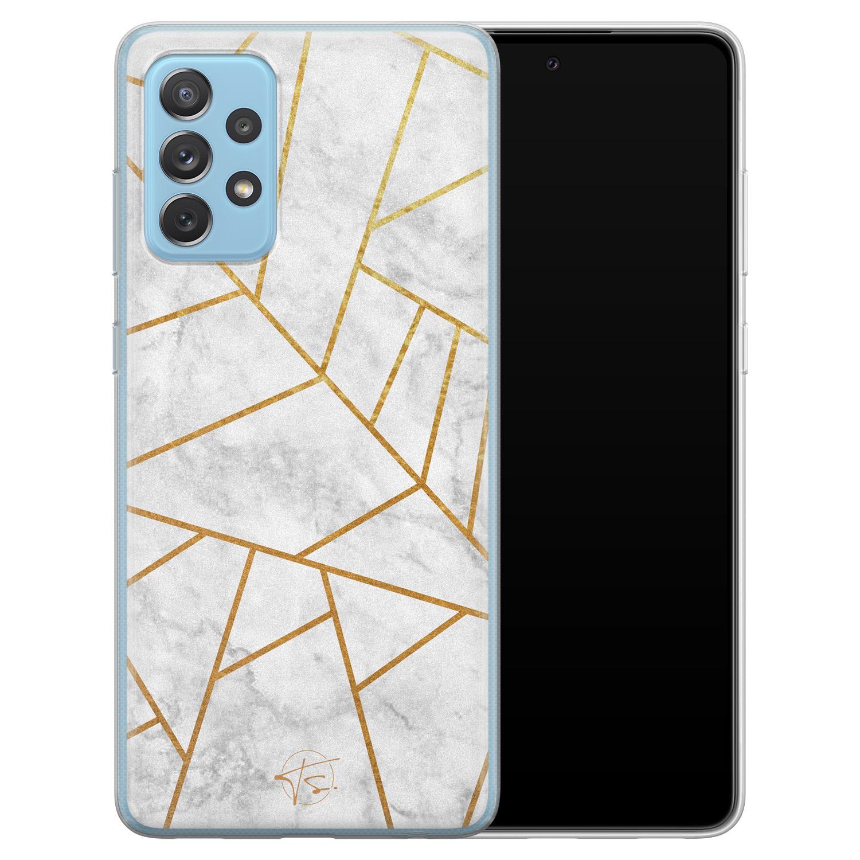 Telefoonhoesje Store Samsung Galaxy A52 siliconen hoesje - Geometrisch marmer