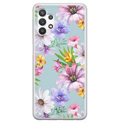Telefoonhoesje Store Samsung Galaxy A32 5G siliconen hoesje - Mint bloemen