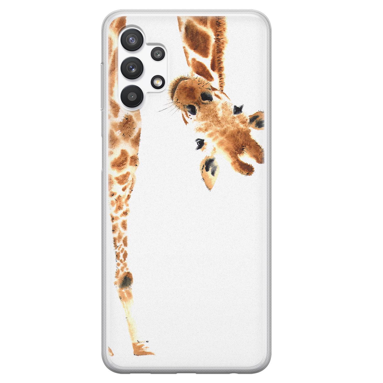 Leuke Telefoonhoesjes Samsung Galaxy A32 5G siliconen hoesje - Giraffe peekaboo
