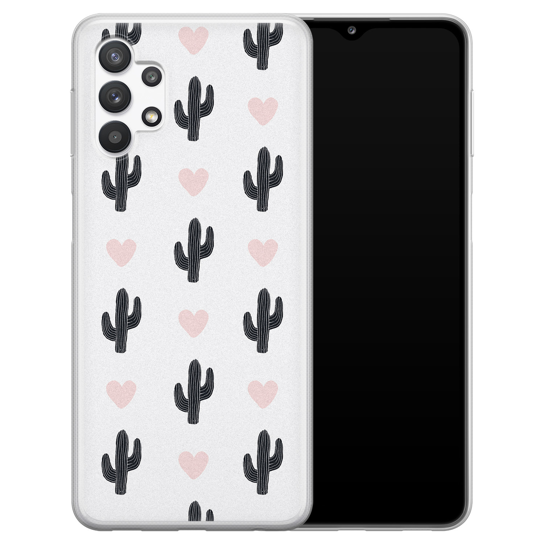 Leuke Telefoonhoesjes Samsung Galaxy A32 5G siliconen hoesje - Cactus love