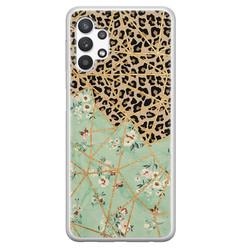 Leuke Telefoonhoesjes Samsung Galaxy A32 5G siliconen hoesje - Luipaard flower print