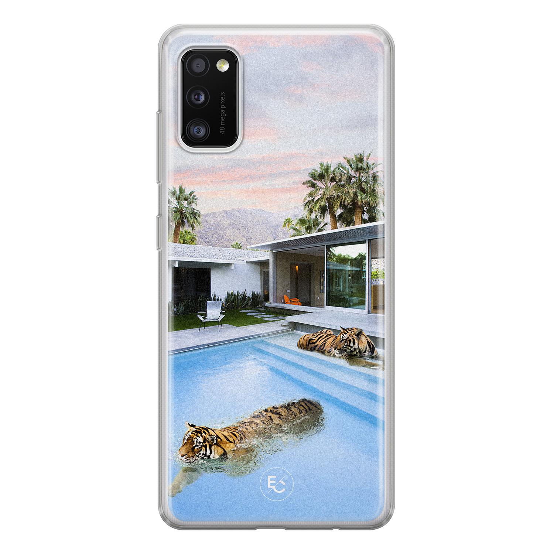 ELLECHIQ Samsung Galaxy A41 siliconen hoesje - Tiger pool