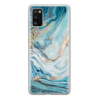Telefoonhoesje Store Samsung Galaxy A41 siliconen hoesje - Marmer blauw goud